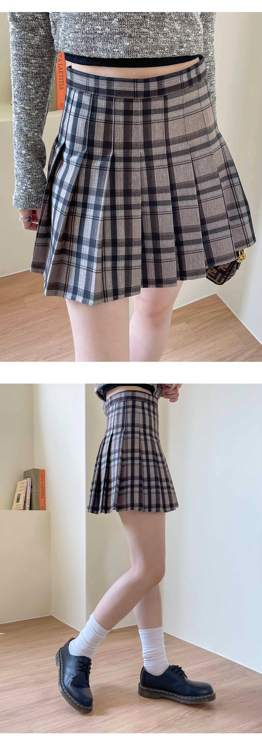 Merck check pleated mini skirt