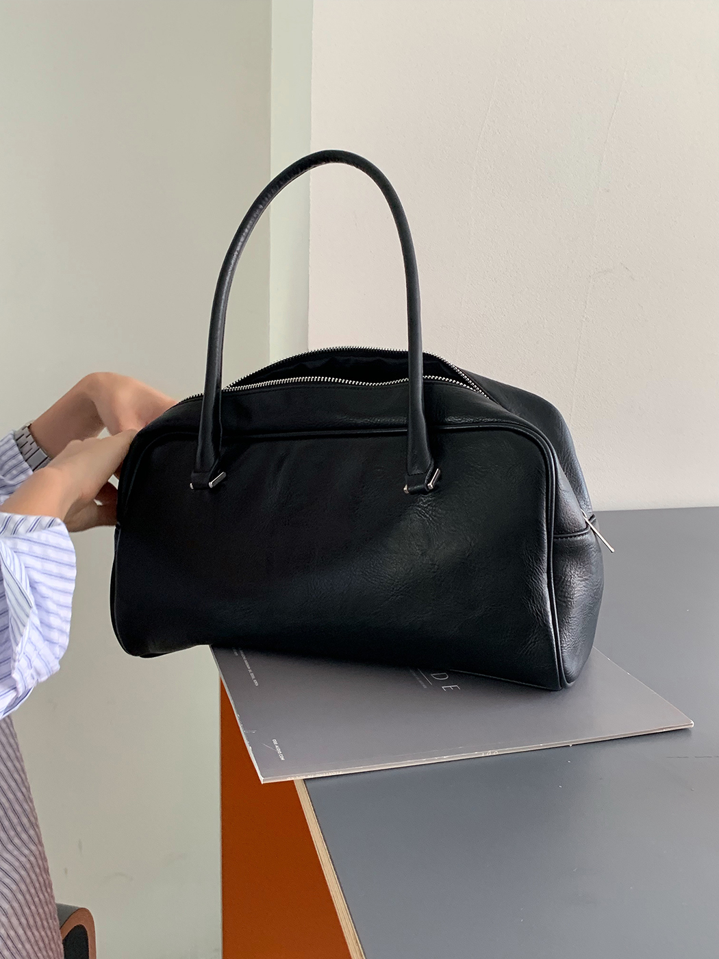 Soft Leather Square Bowling Bag