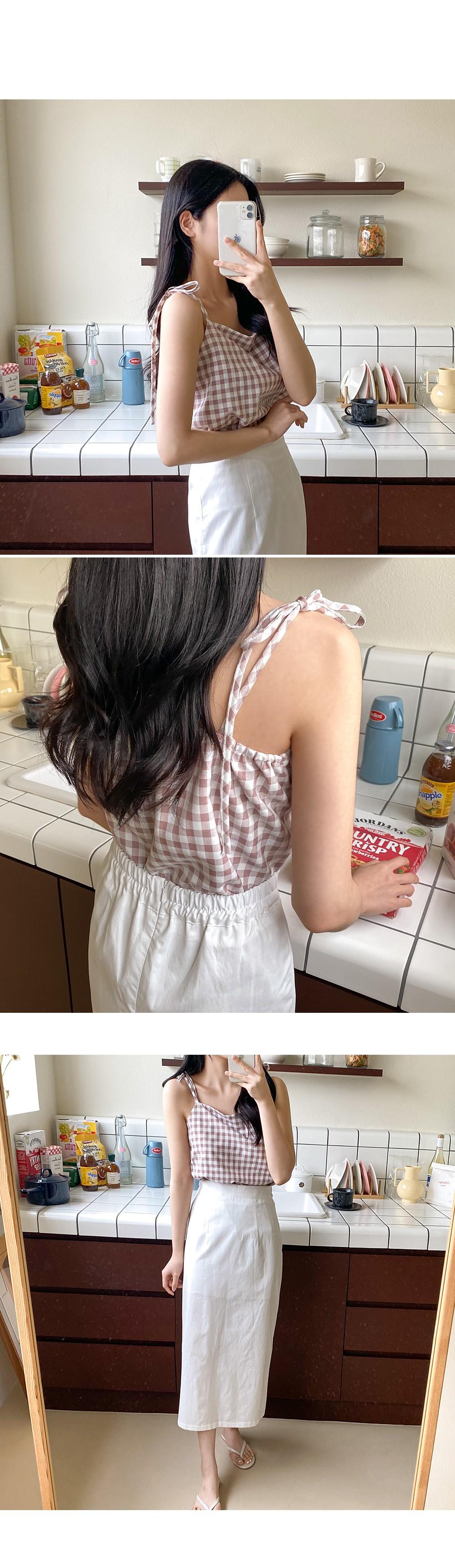 Picnic Check Strap Sleeveless Ribbon Knot Bustier: D