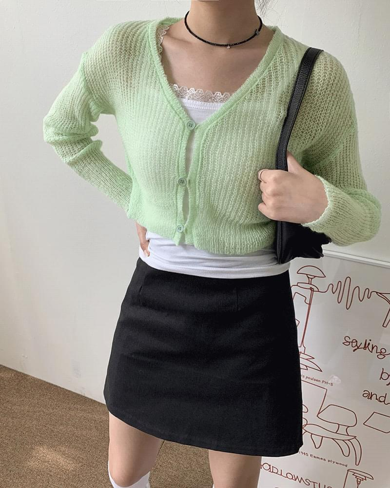 Coming See-Through V-Neck Cropped Knitwear Cardigan