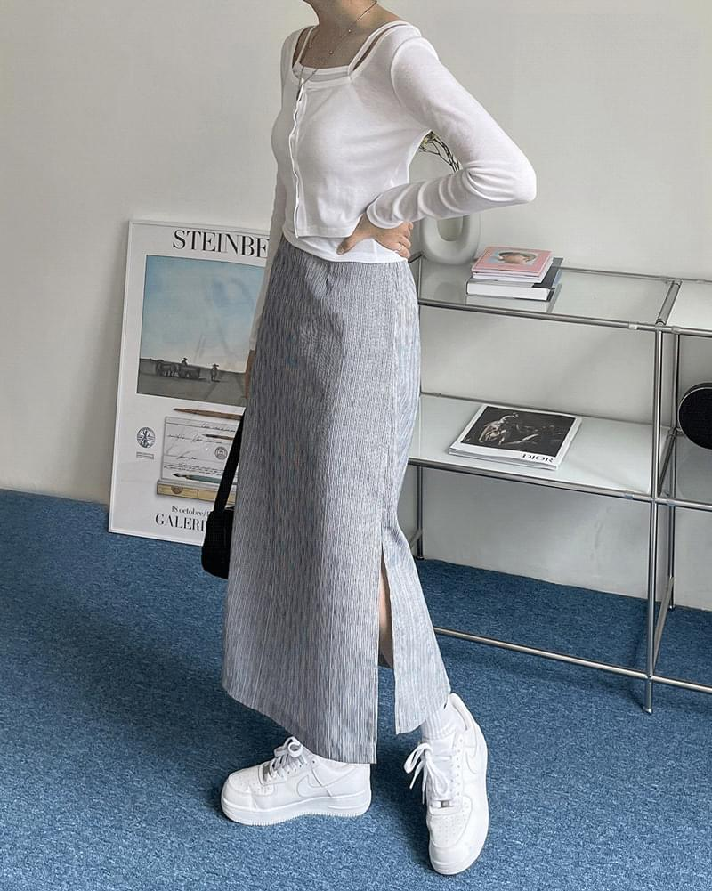 Ted Striped Striped Side Split Long Skirt