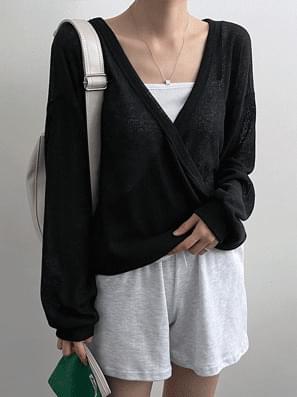 Linen See-Through Wrap Knitwear