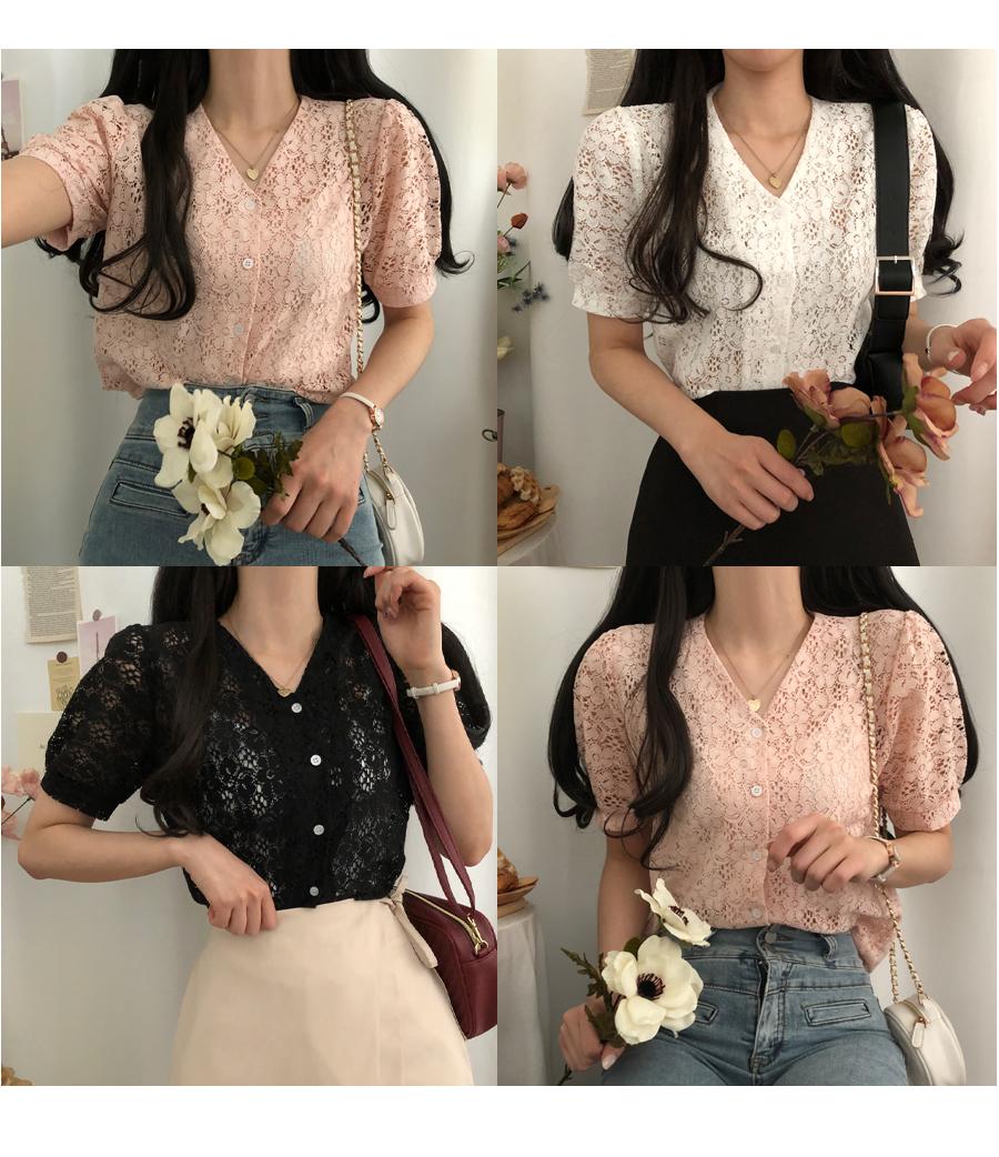 Sugar flower lace short-sleeved blouse