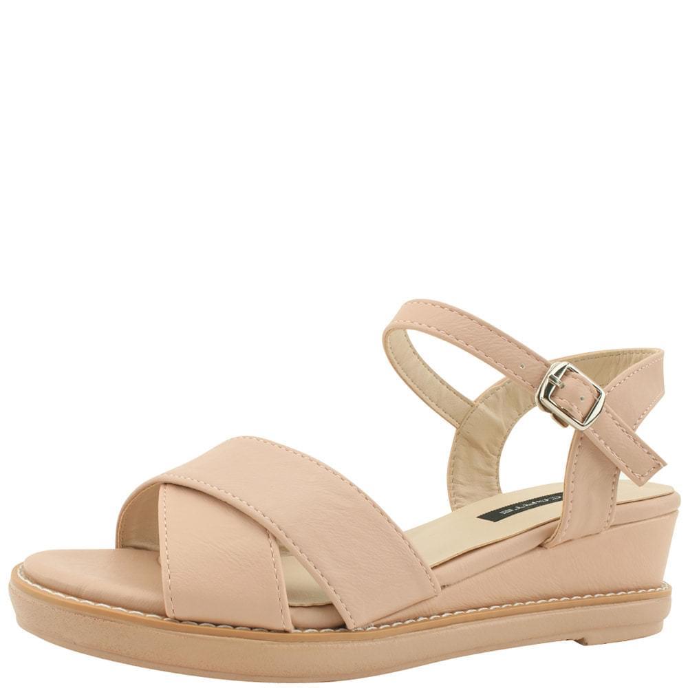 X Strap Middle Heel Wedge Sandals 5cm Pink