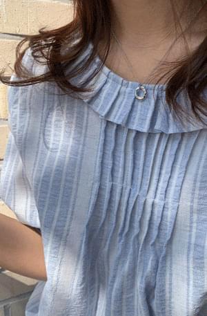 Sky Pleated Collar Cotton Blouse