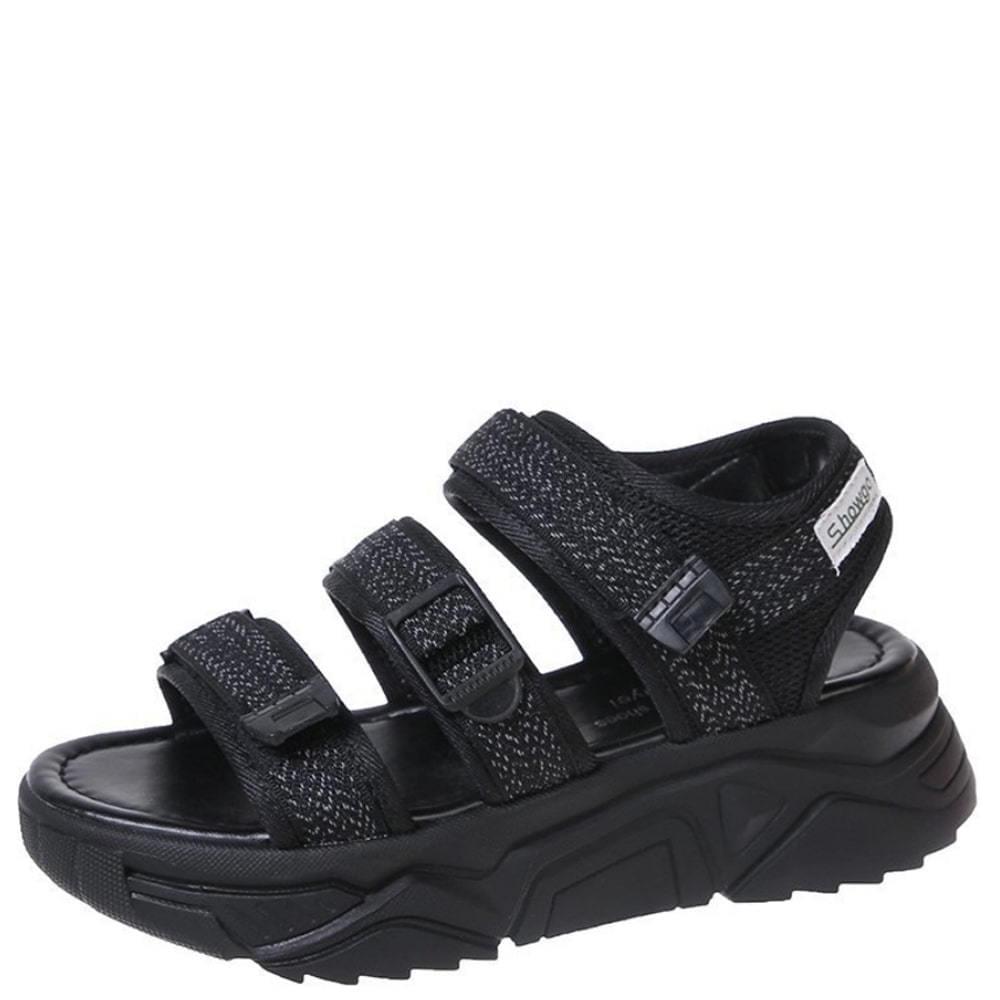 韓國空運 - Scotch 3-wire strap sport sandals black 涼鞋