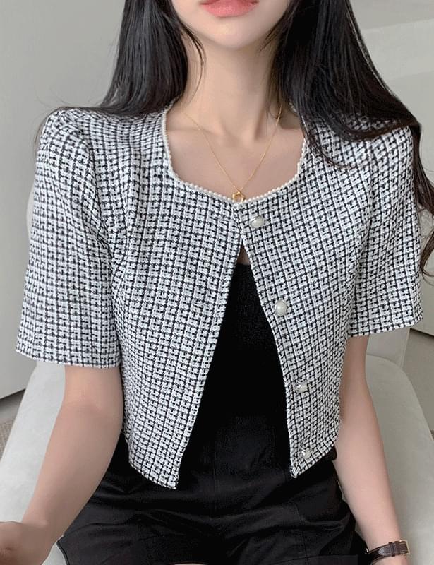 韓國空運 - Kdy Jinju Tweed Short Sleeve Jacket 襯衫