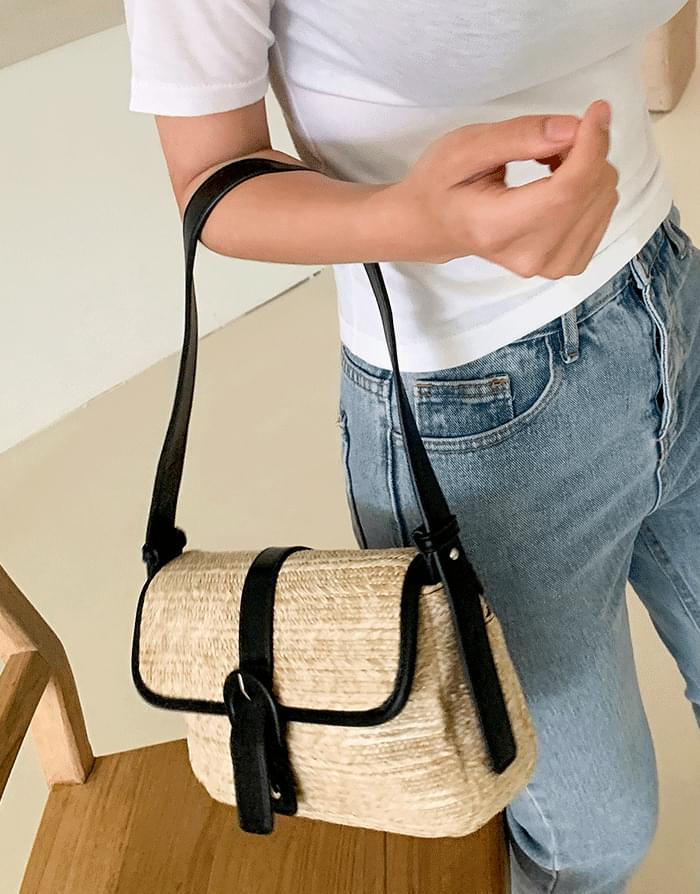 Buckle Rattan Shoulder Bag
