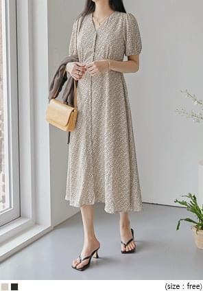 Ditsy Pattern Short Sleeve Dress