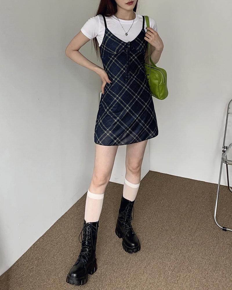 Royer Teen Check Ribbon Sleeveless Strap Dress