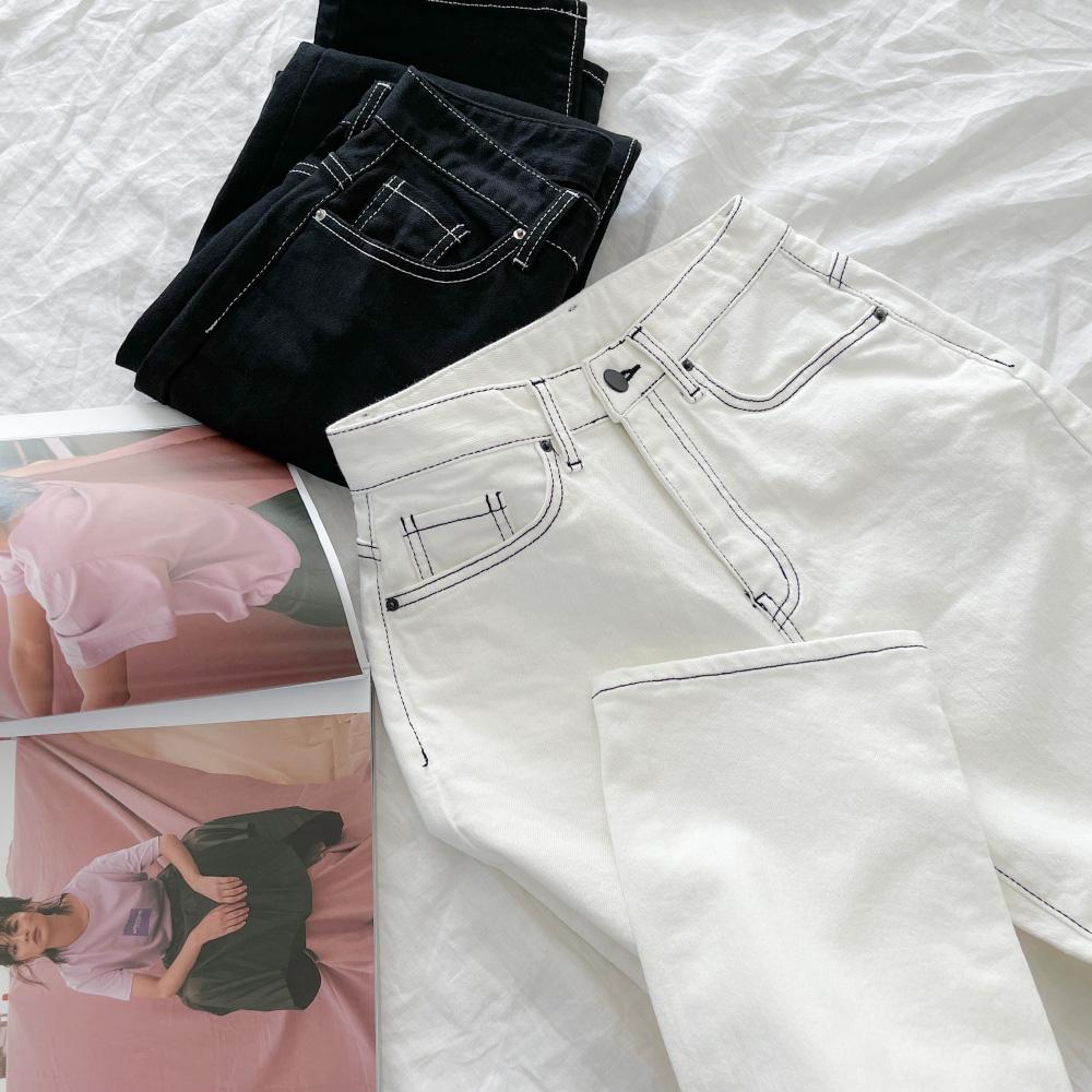 Lead stitch cotton pants