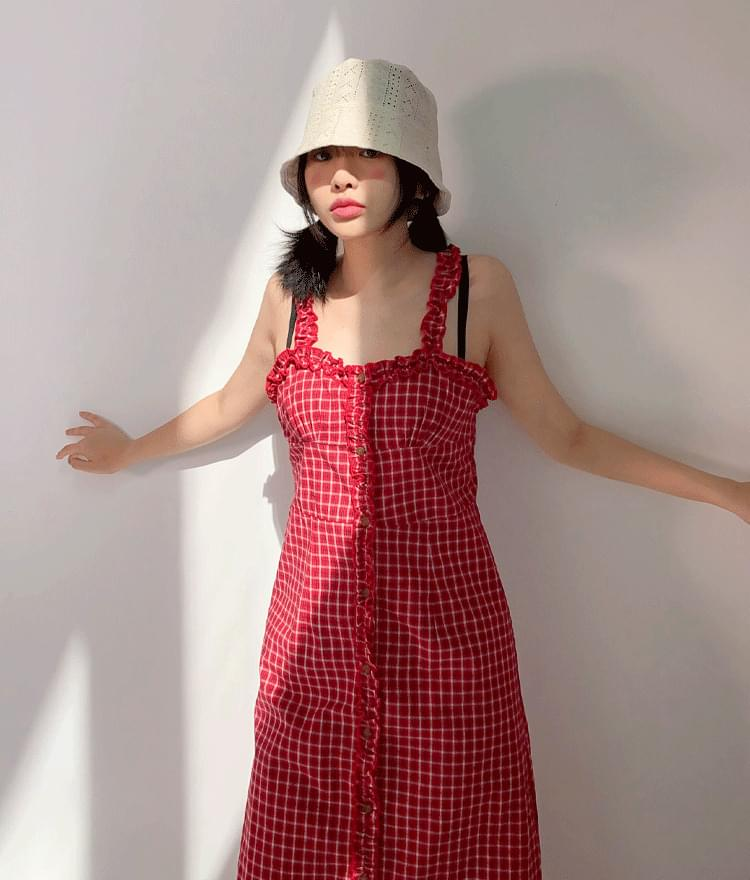 Ruffle Trim Check Dress