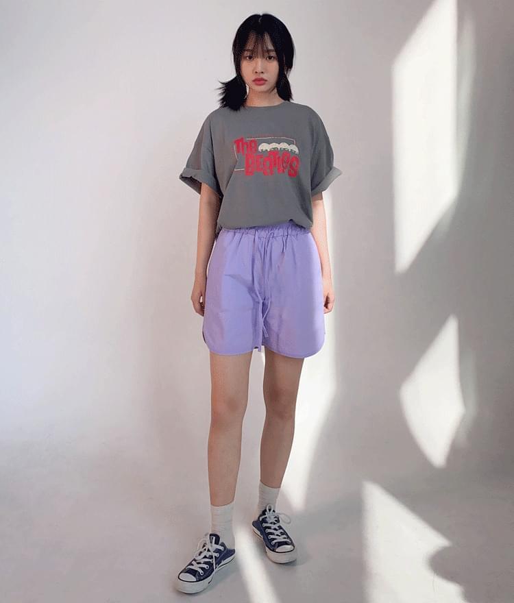 Drawstring Waist Nylon Shorts
