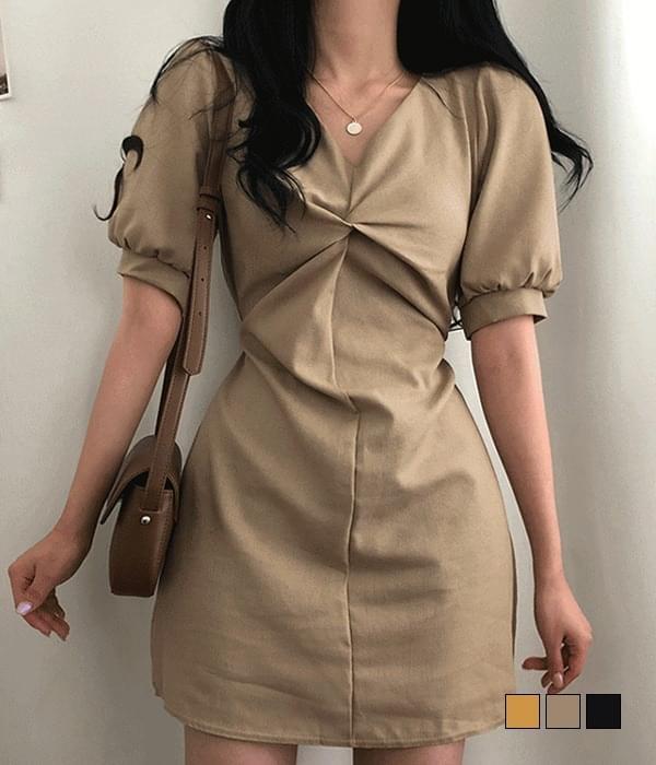 Velda linen twisted short-sleeved mini Dress 迷你短洋裝