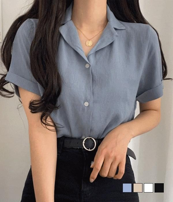 亞麻短袖襯衫 (人氣商品配送延遲)