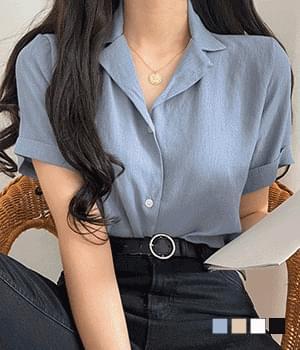 Eucalyptus linen collar shirt