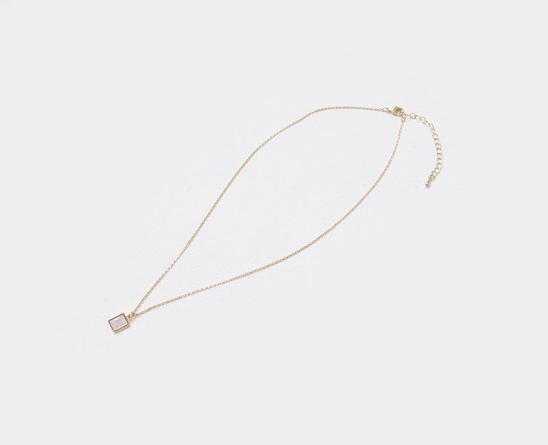 Mini Square Glossy Pendant Necklace