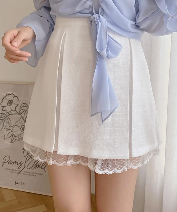 Mabe lace pleated skirt 2color
