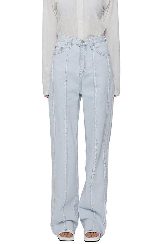 Cut fringe ice straight jeans