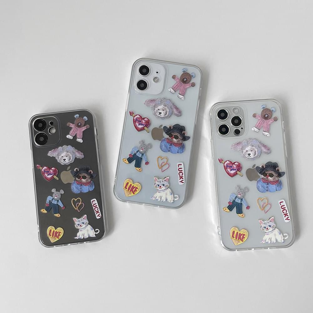 Cat's Sticker Full Cover iPhone Case