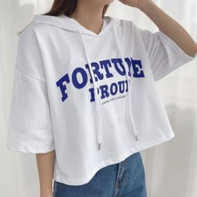 Fortune cropped hooded short-sleeved tee