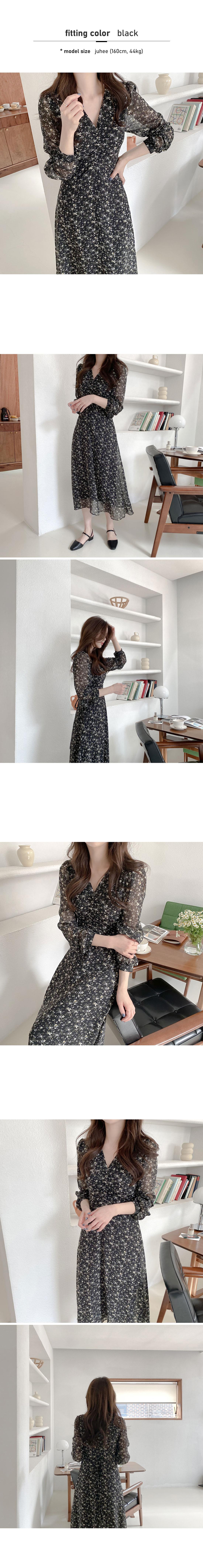 Honeycat Shirring Flower Long Dress