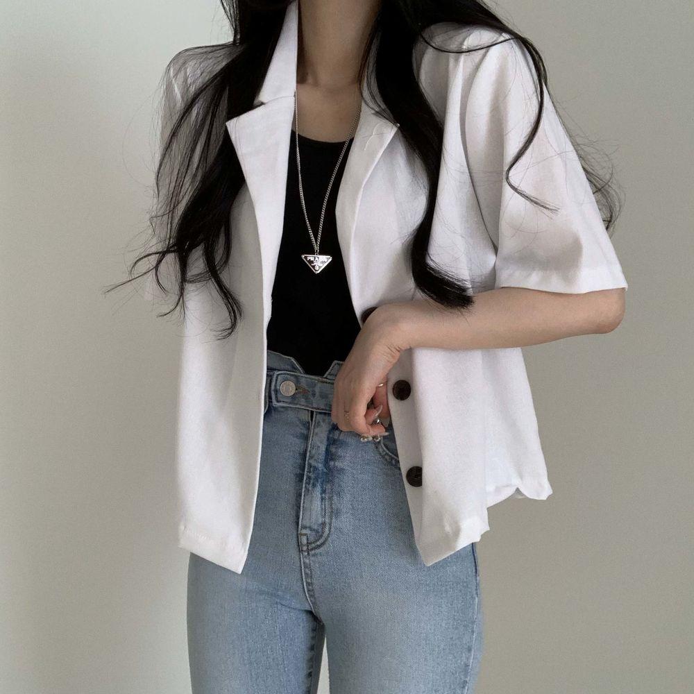 Summer short sleeve linen jacket