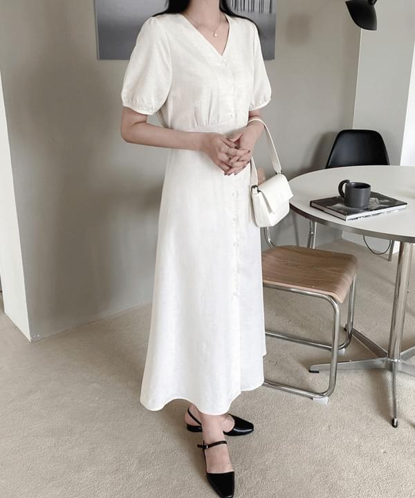 Slow Linen Button Long Dress