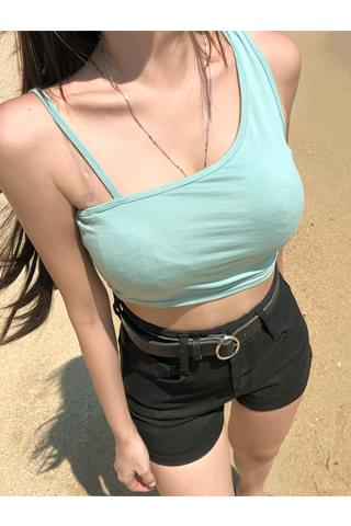 Swing unbalance cropped sleeveless top