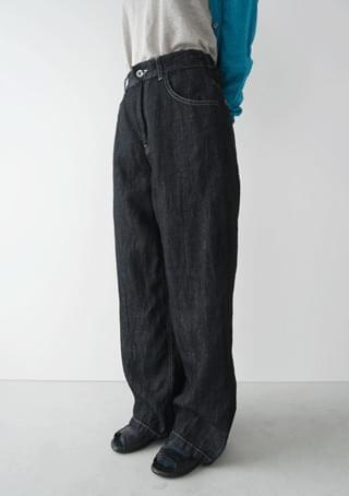 chunky linen denim pants