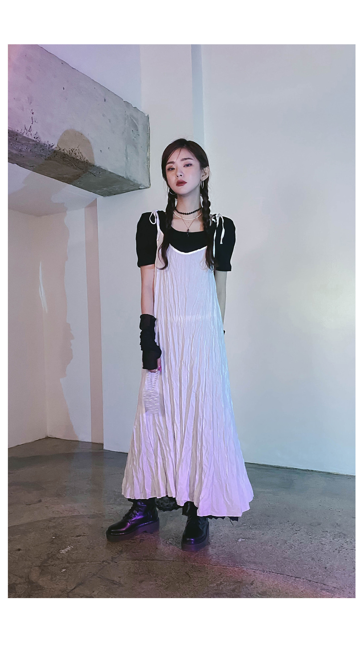 lace nature long skirt