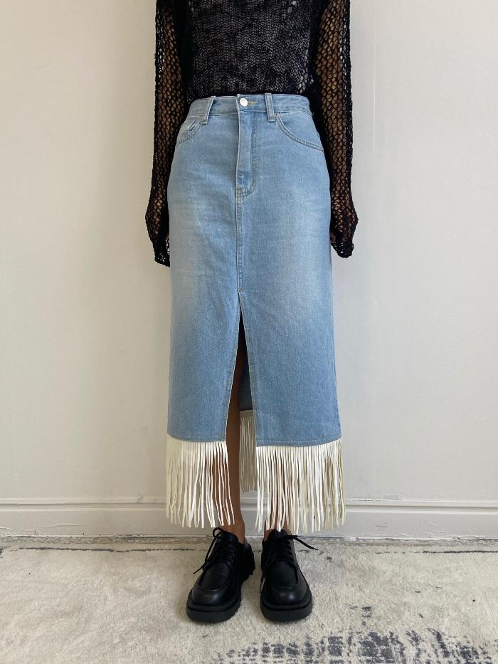 Fringed light blue denim long skirt