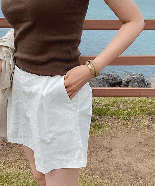 Wiss linen short pants-4color