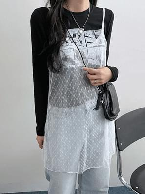 Mini punching see-through layered Dress