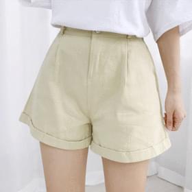 Pintuck cotton normal short pants