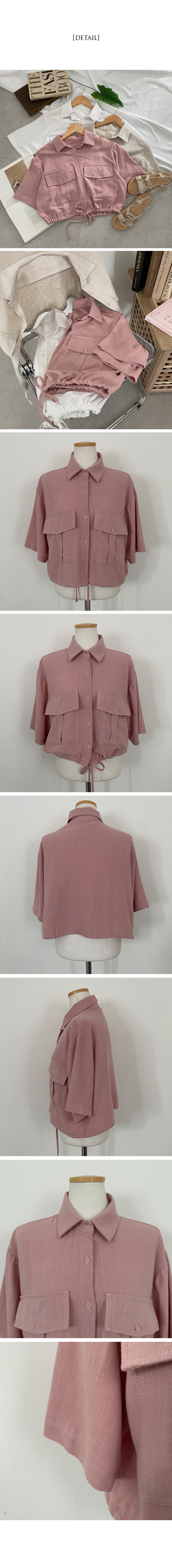 Food linen two-pocket cropped jacket