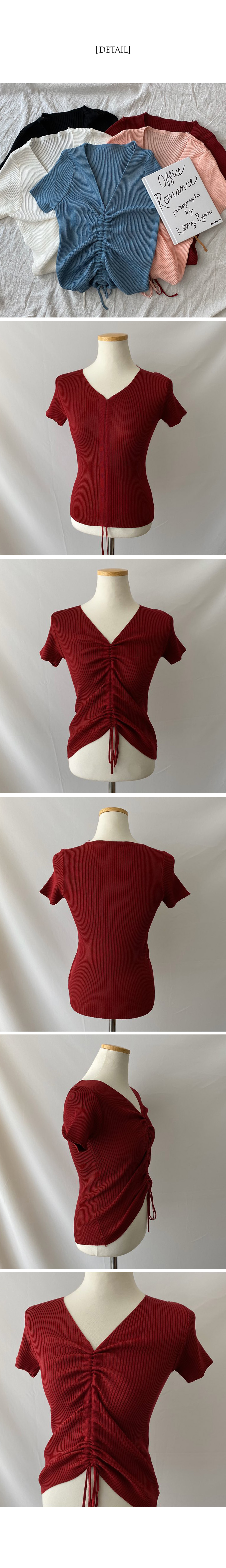 Guava Shirred Short Sleeve Ribbed Knitwear