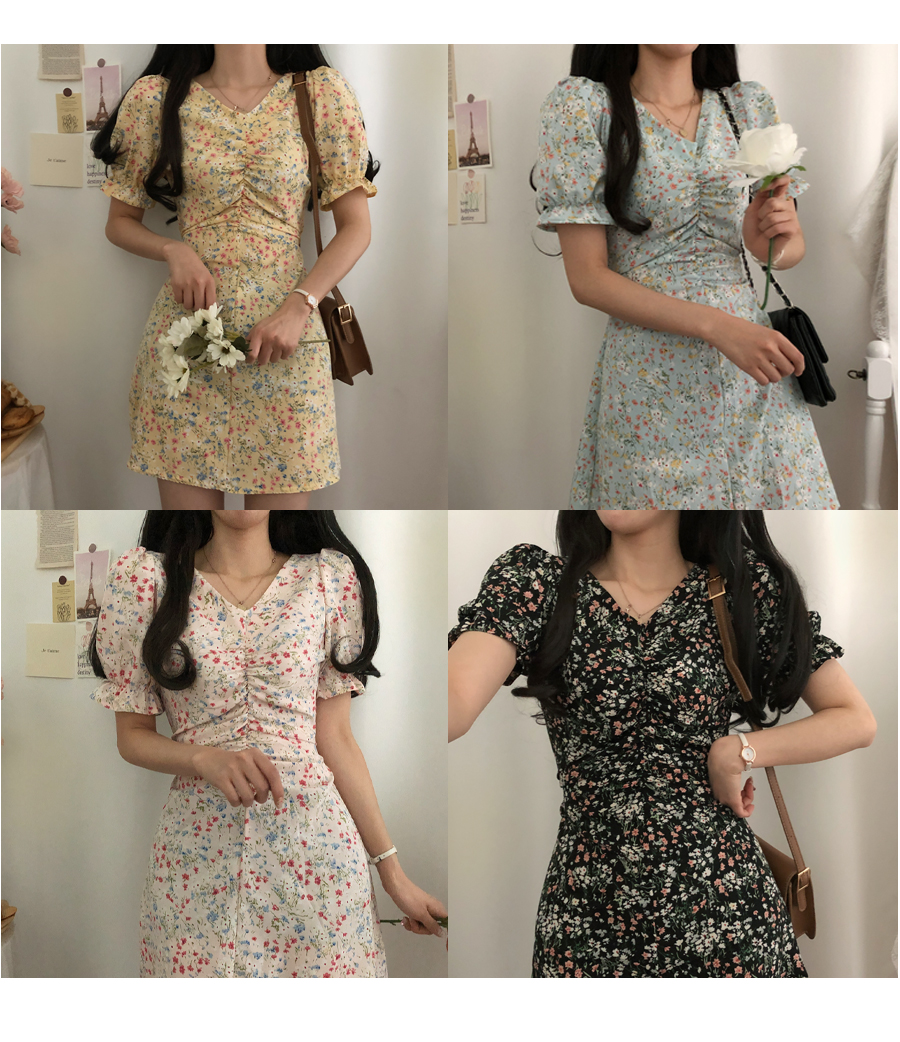 Anna Flower Shirring Short Sleeve Mini Dress