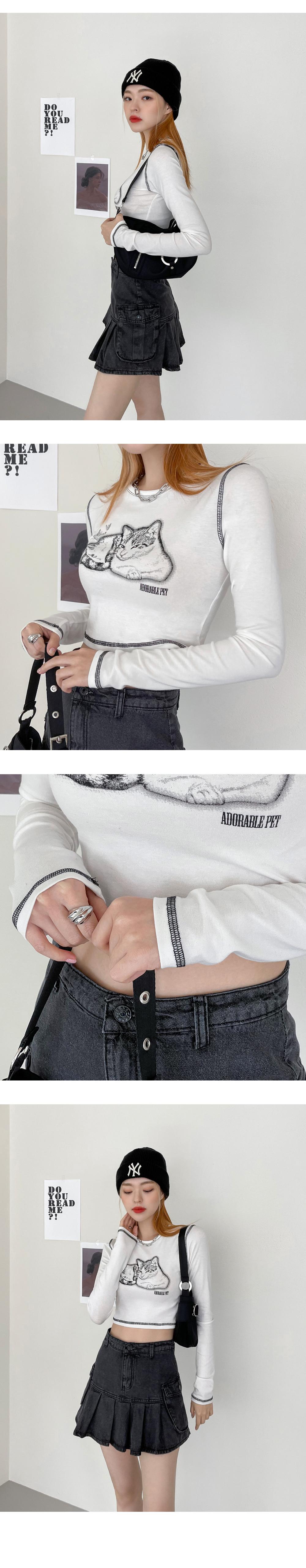 Katz stitch cropped long-sleeved T-shirt