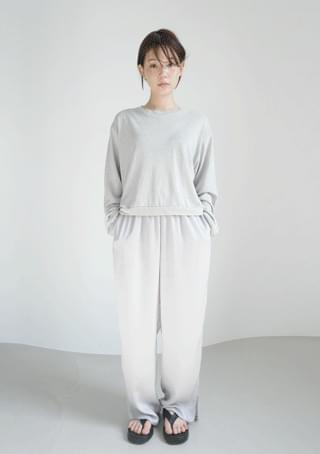 color satin banding slit pants