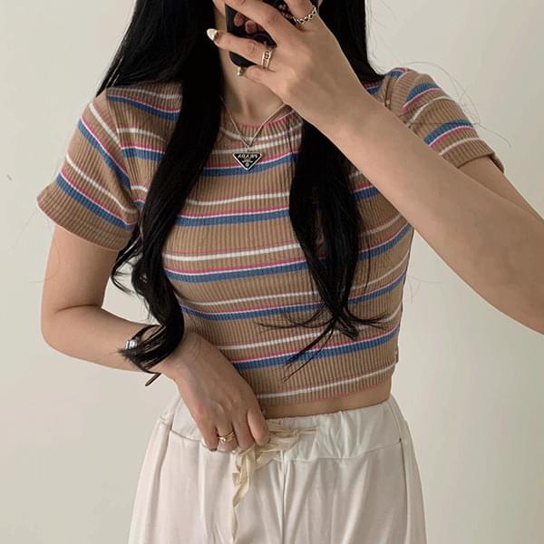 Cropped Striped Slim Short Sleeve Tee