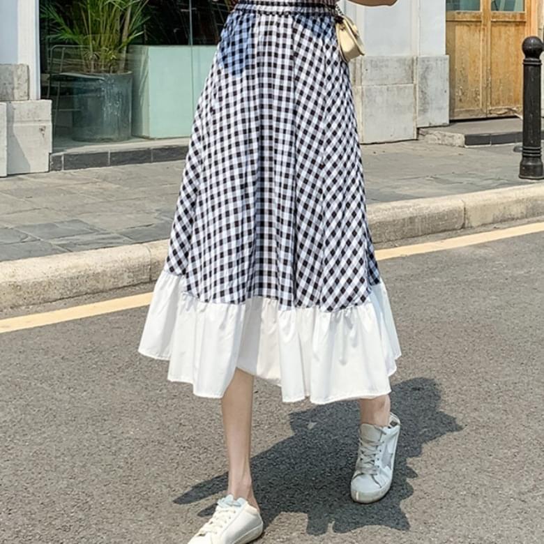 Casual Check Shirred Banded Skirt