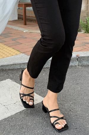 Square diagonal strap mules sandals