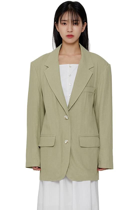 Muted linen single blazer