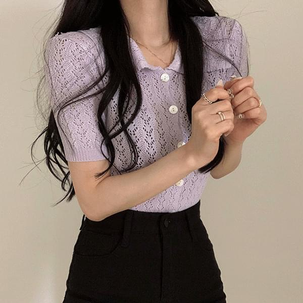 Lovely Punching Lace Collar Knitwear Cardigan