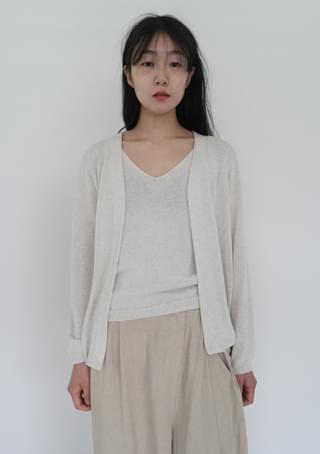 knit sleeveless x cardigan set