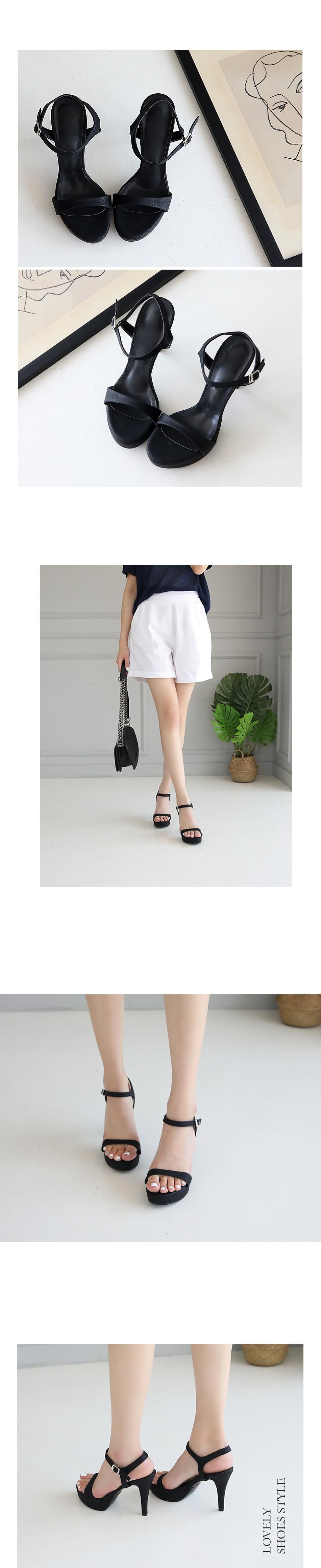 Lady Gauze strap sandals heel 10cm