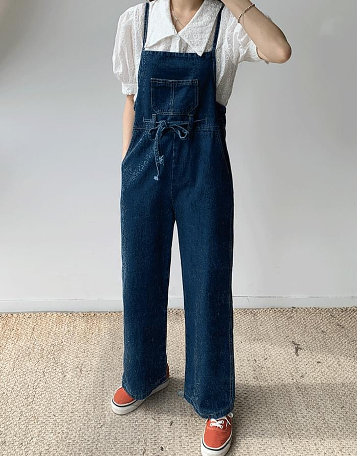 String Blue Suspenders Pants