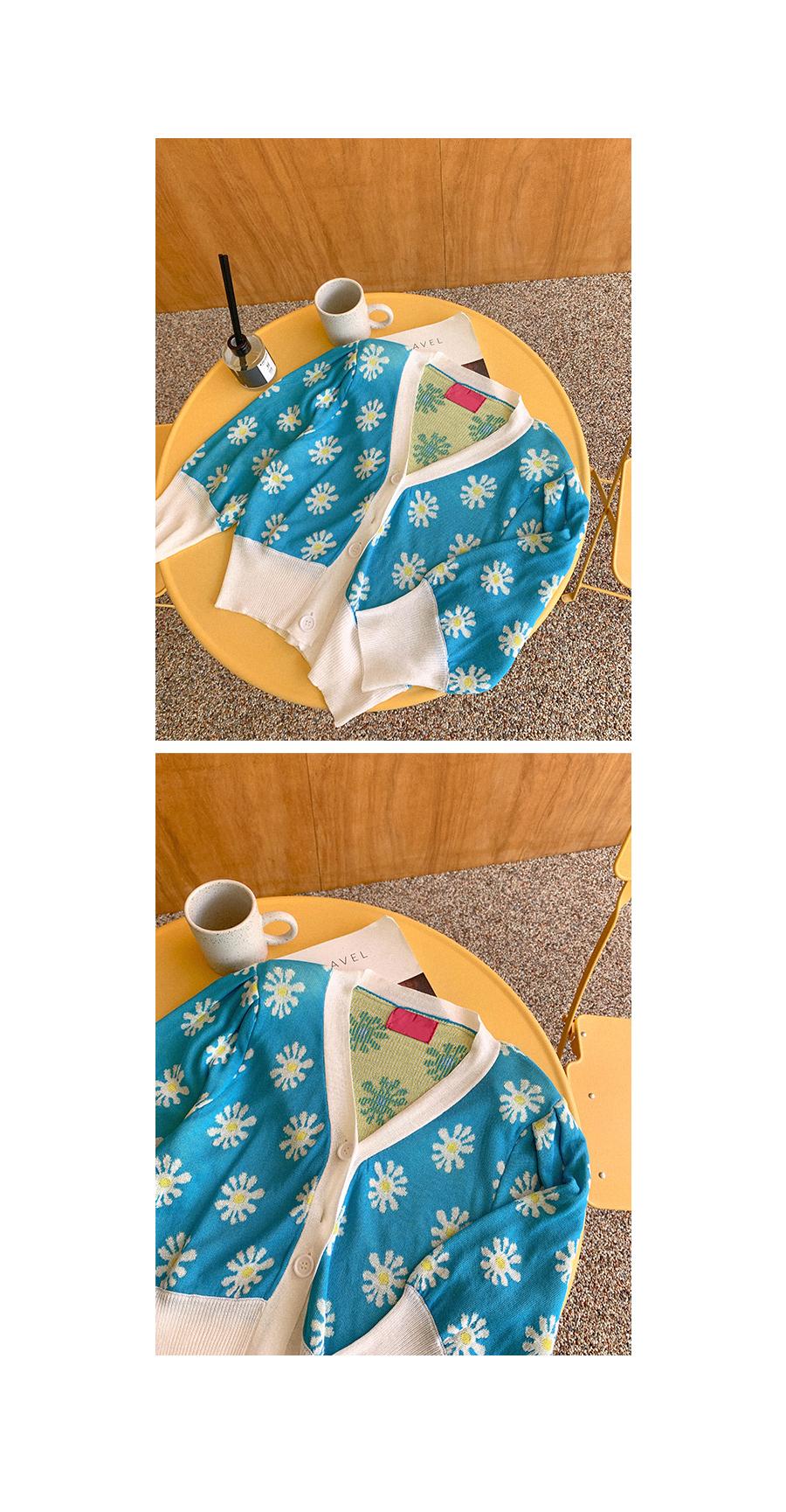 Refreshing Mood Flower Knitwear Cardigan