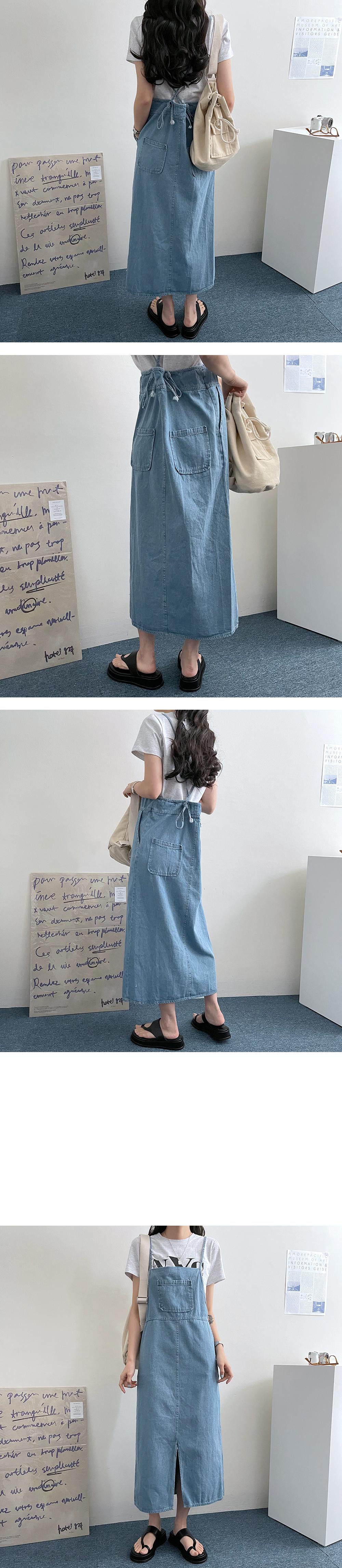 Robe Pocket Denim String Long Dress